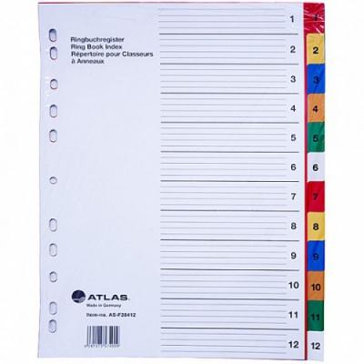 Էջաբաժանիչ պլաստիկ գունավոր A4, 12 բաժանում